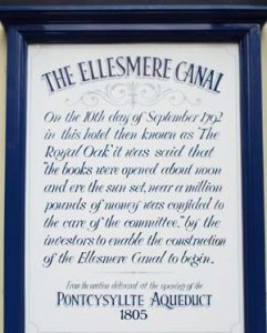 Plaque on the wall of the Ellesmere Hotel commemorating its role in the canal age
